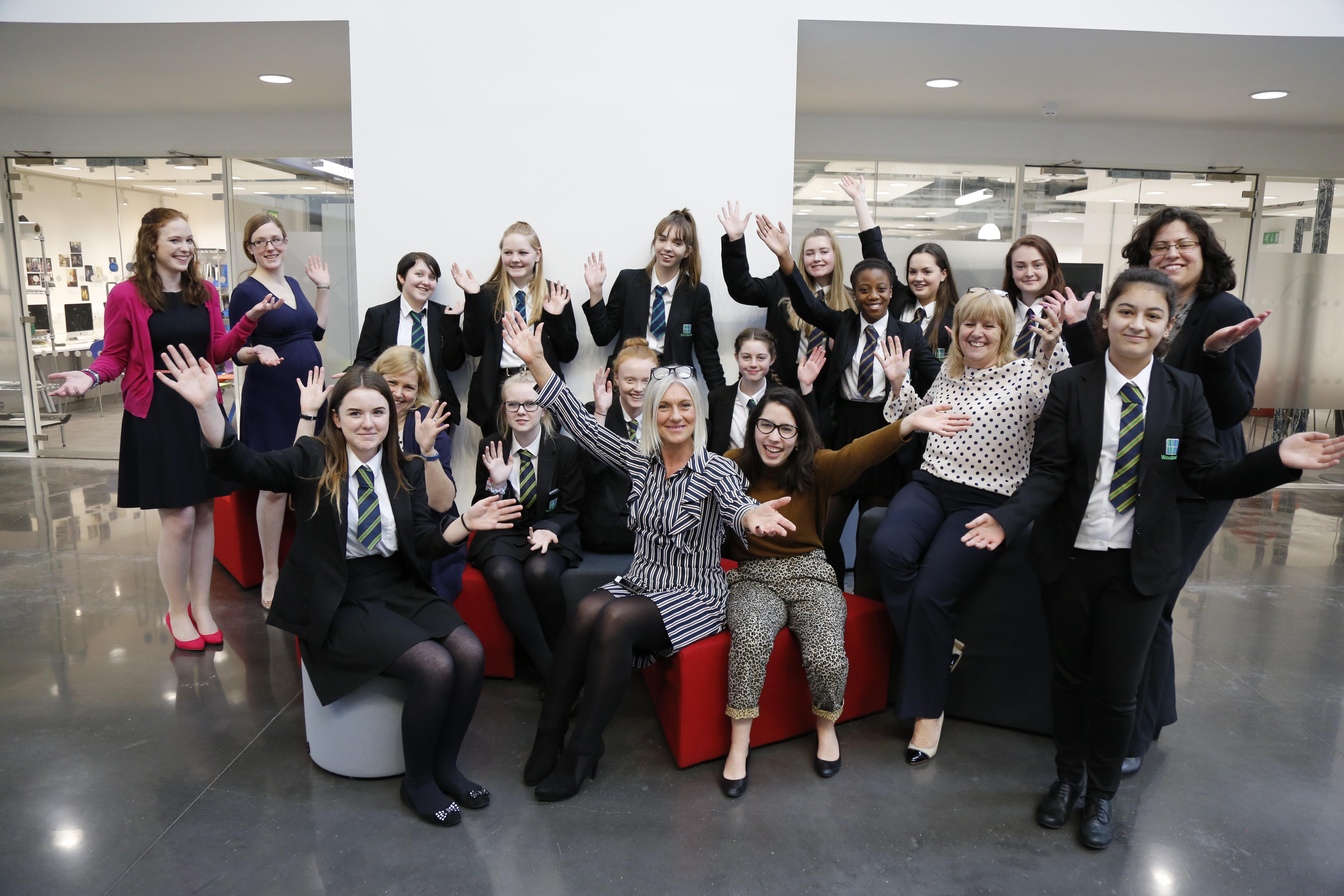 WOMEN IN BUSINESS SPEED NETWORKING AND SKILLS SESSION AT THE SPARKS BUILDING SOUTHAMPTON.   WOODLANDS COMMUNITY COLLEGE PUPILS WITH BUSINESS WOMEN L-R Zoe White, Georgianna Rustell, Gemma Lacey, Kate Hibbert, Angela Djukanovic, Bev Wyatt and Loanna Creese