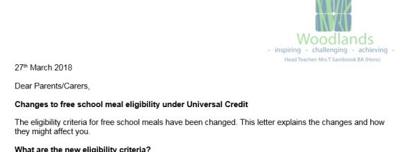Letter regarding Free School Meals Universal Credit from Mrs S Rosling