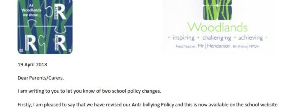 New zero tolerance and positive relationships policies letter from Miss Iverson