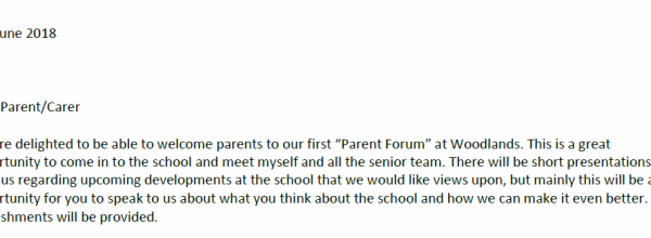 Parents Forum Invitation Letter from Mr J Henderson