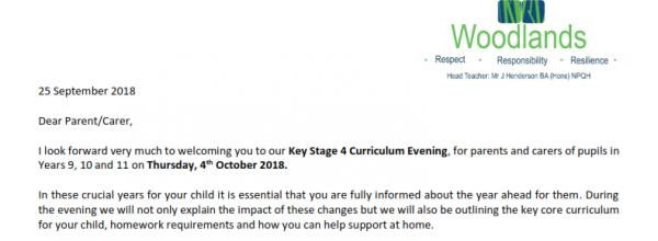 Curriculum Evening Key Stage 4