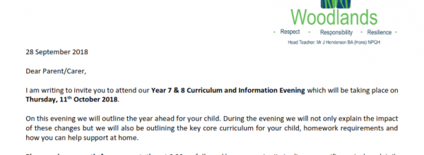 Curriculum and Information Evening Years 7 & 8