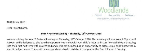 Year 7 Pastoral Evening Letter