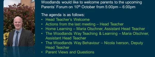 Parents Forum Agenda for 10/10/2018