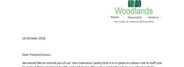 Zero Tolerance Policy Letter