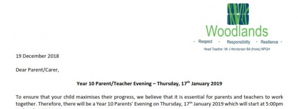 Parents Evening Letter from Mrs Strange