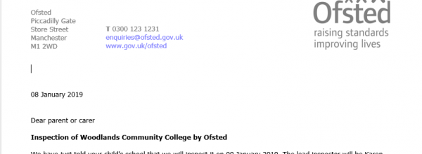 Letter to parents regarding Ofsted Section 5 Inspection