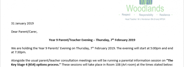 Year 9 Parents Evening