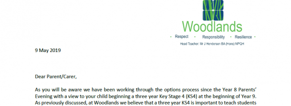 Year 8 options curriculum changes letter